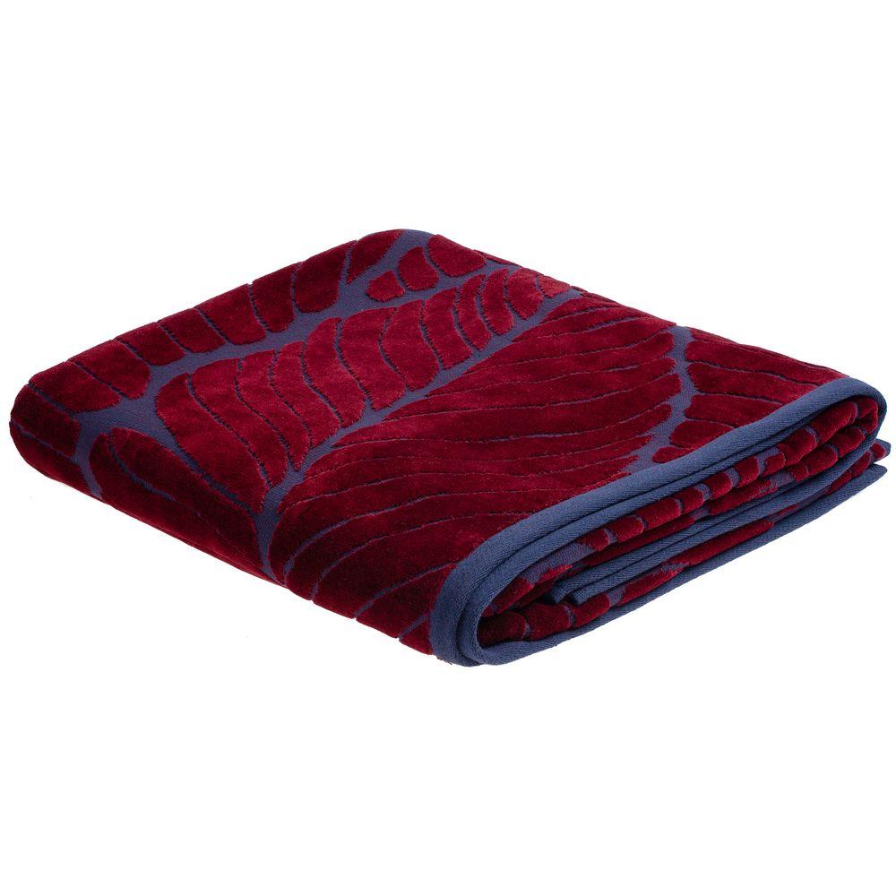 Полотенце In Leaf, большое, синее с бордовым