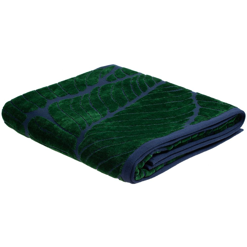 Полотенце In Leaf, большое, синее с зеленым