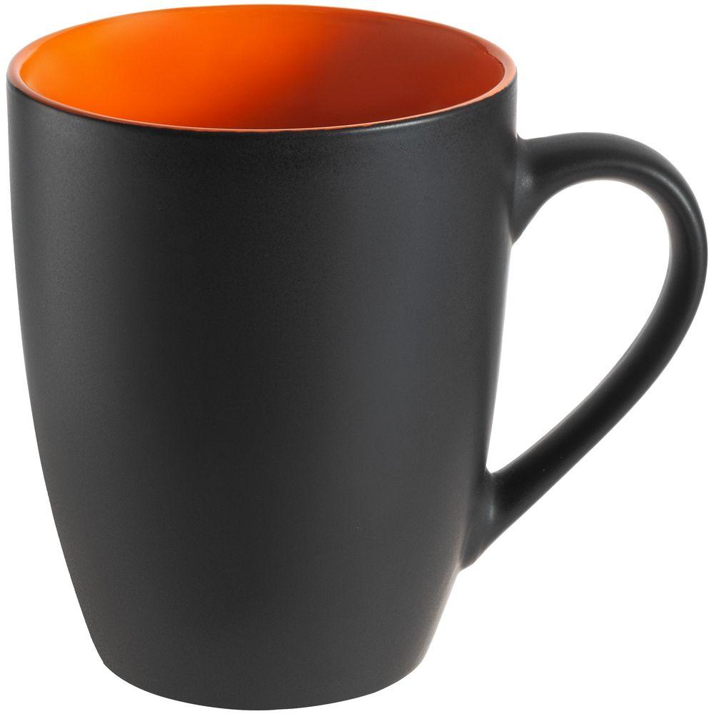 Кружка Bright Tulip, матовая, черная с оранжевым