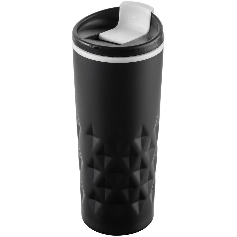 Термостакан Relief, черный с белым