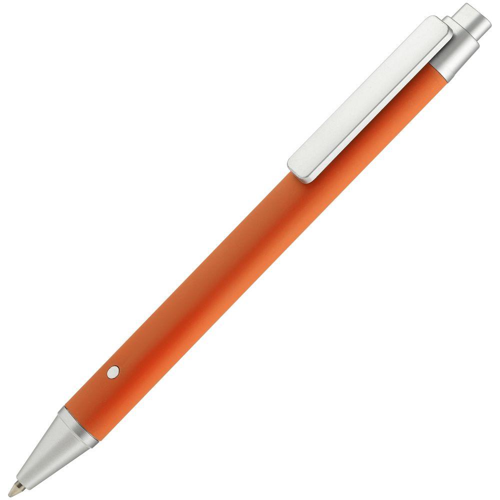 Ручка шариковая Button Up, оранжевая с серебристым
