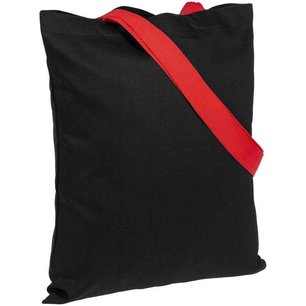 Холщовая сумка BrighTone, черная с красными ручками