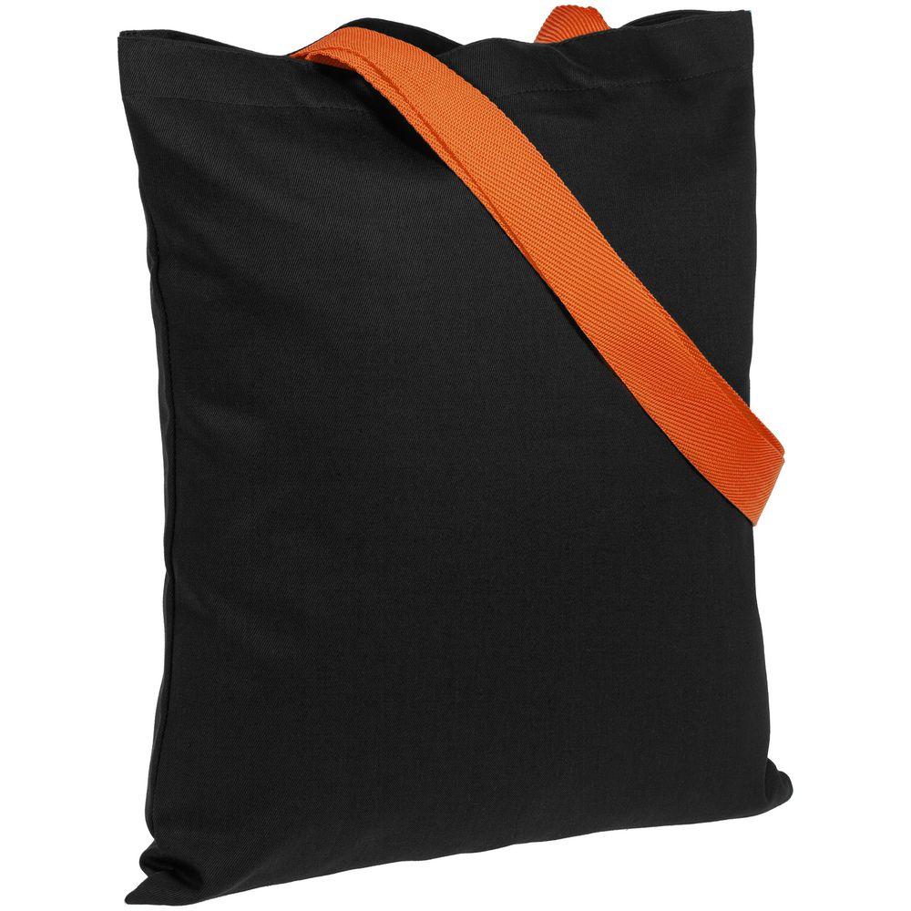 Холщовая сумка BrighTone, черная с оранжевыми ручками