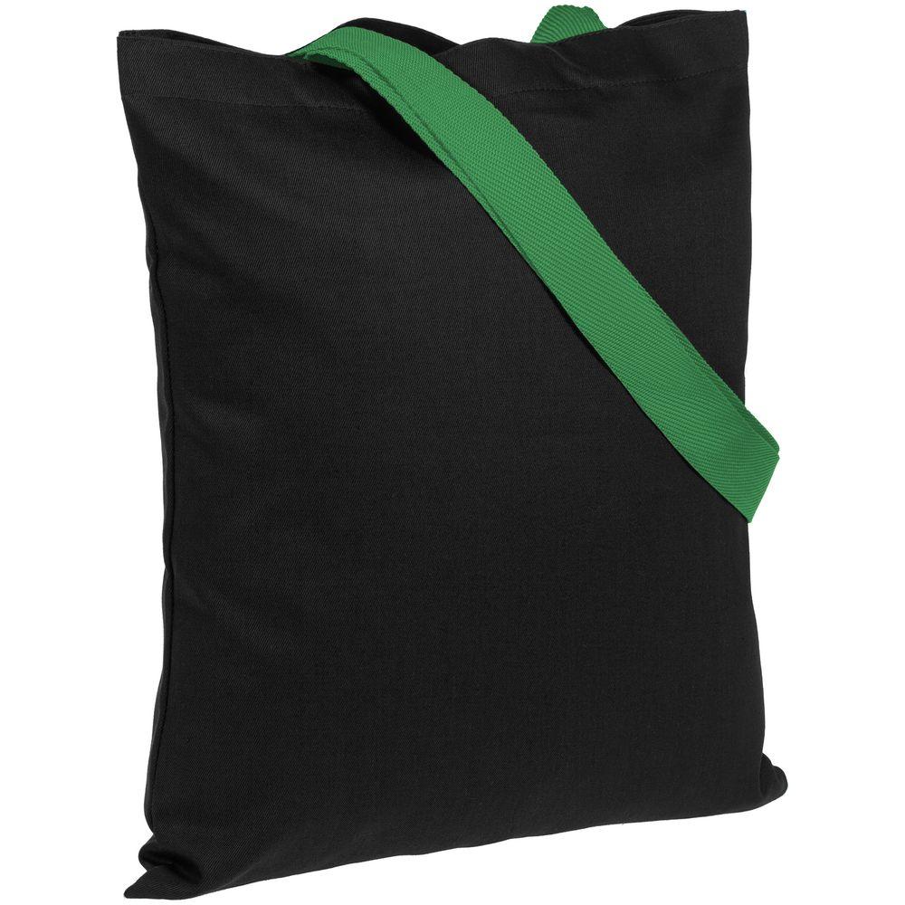 Холщовая сумка BrighTone, черная с зелеными ручками