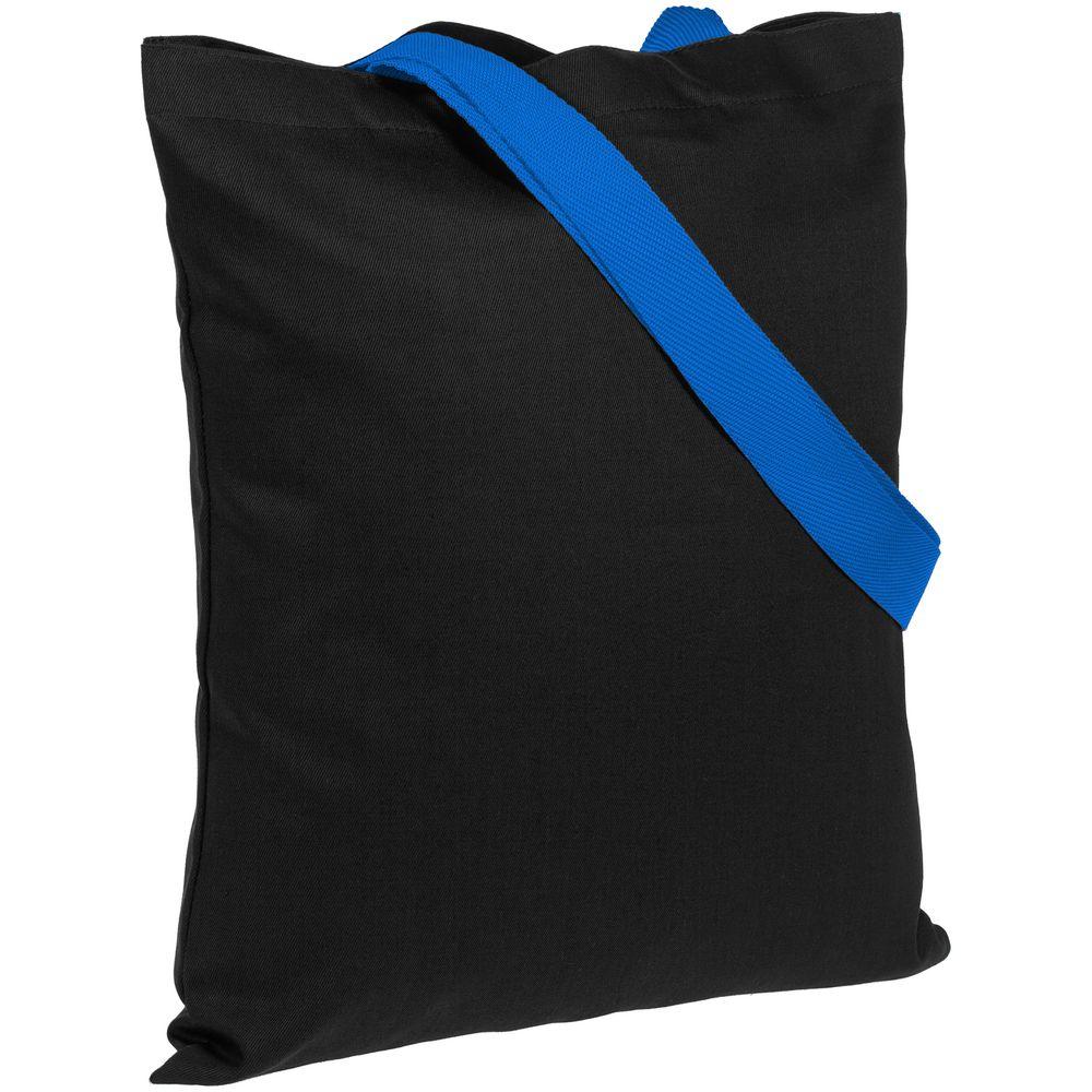 Холщовая сумка BrighTone, черная с ярко-синими ручками