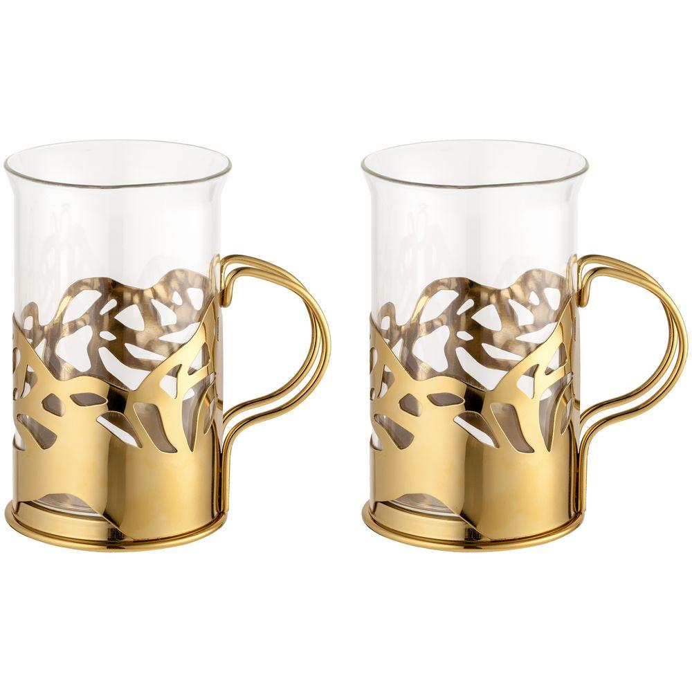 Набор стаканов в подстаканниках Cite, золотистый