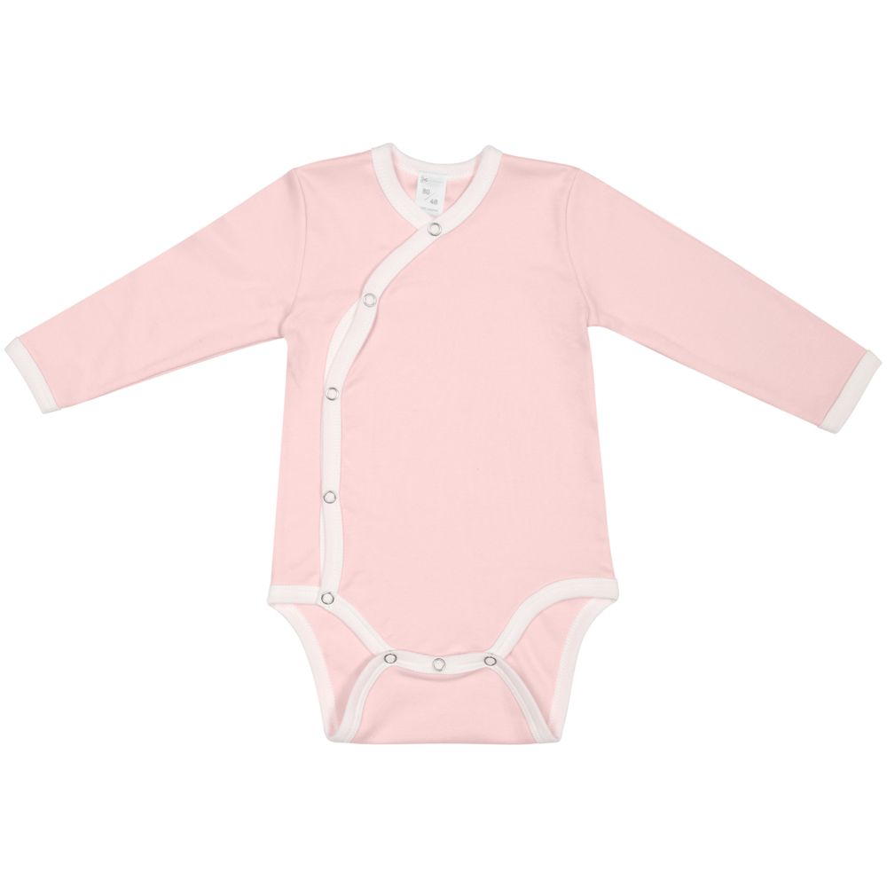 Боди детское Baby Prime, розовое с молочно-белым