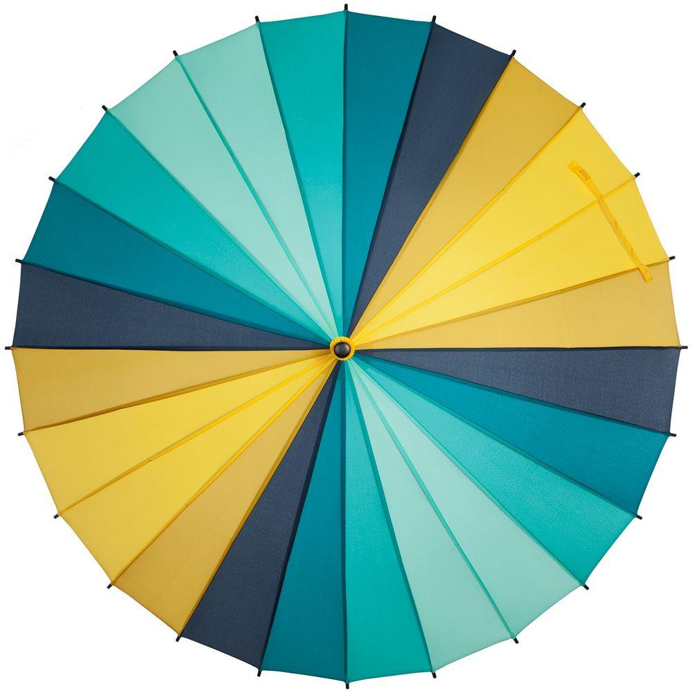 Зонт-трость «Спектр», бирюзовый с желтым
