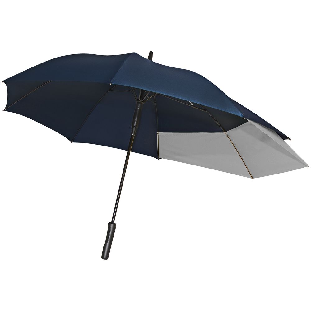 Зонт-трость Fiber Move AC, темно-синий с серым