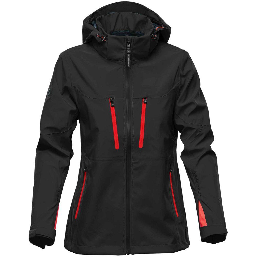 Куртка софтшелл женская Patrol, черная с красным