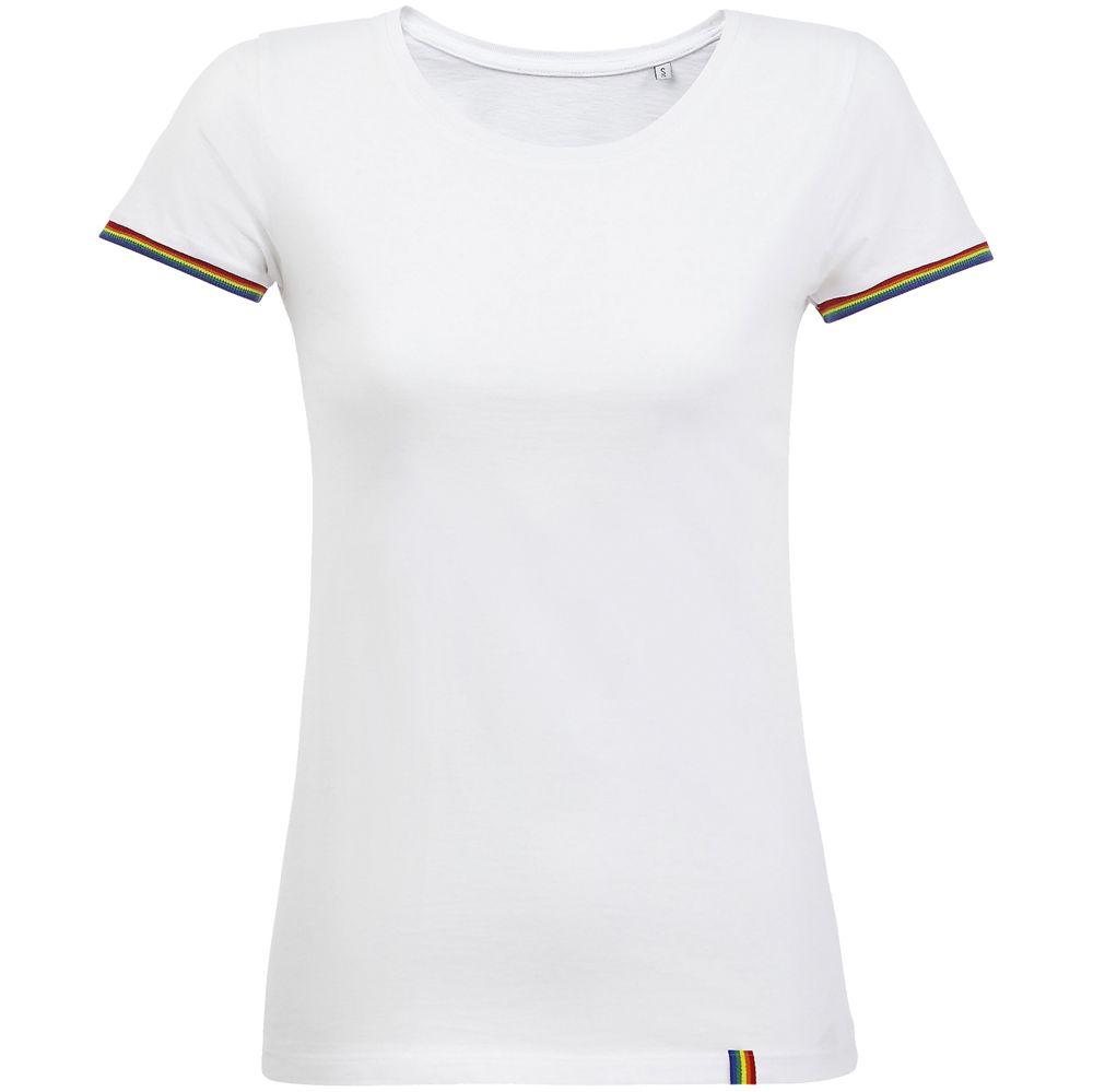 Футболка женская Rainbow Women, белая с многоцветным