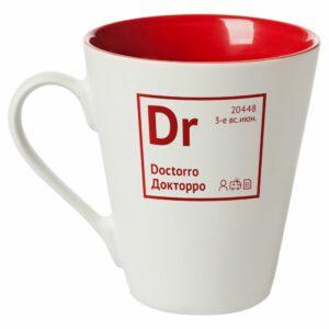Кружка «Разделение труда. Докторро», белая с красным