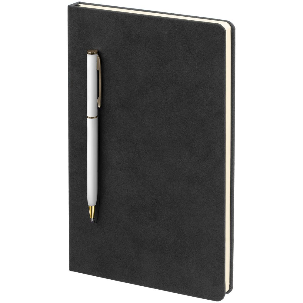 Блокнот Magnet Gold с ручкой, черно-белый