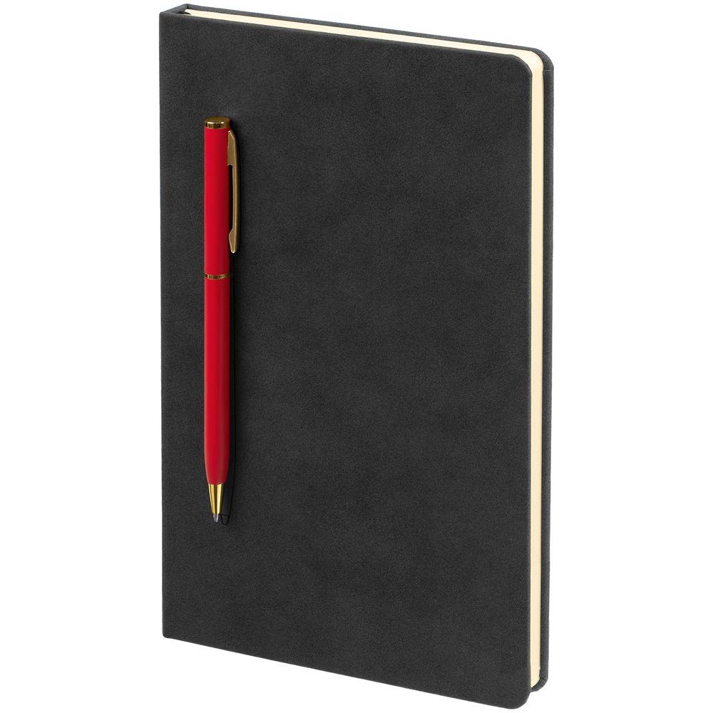 Блокнот Magnet Gold с ручкой, черно-красный