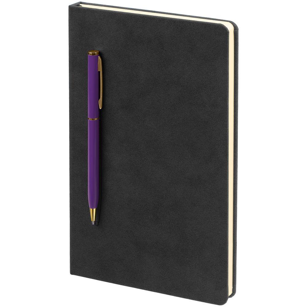 Блокнот Magnet Gold с ручкой, черно-фиолетовый