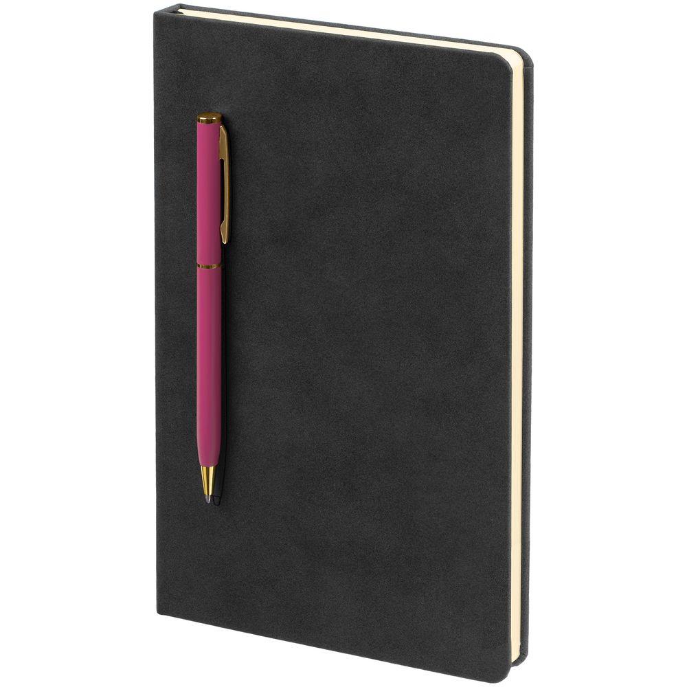 Блокнот Magnet Gold с ручкой, черно-розовый