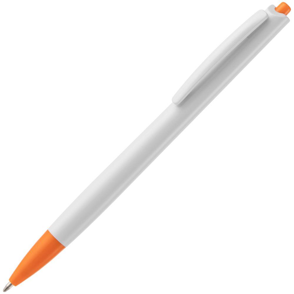 Ручка шариковая Tick, белая с оранжевым