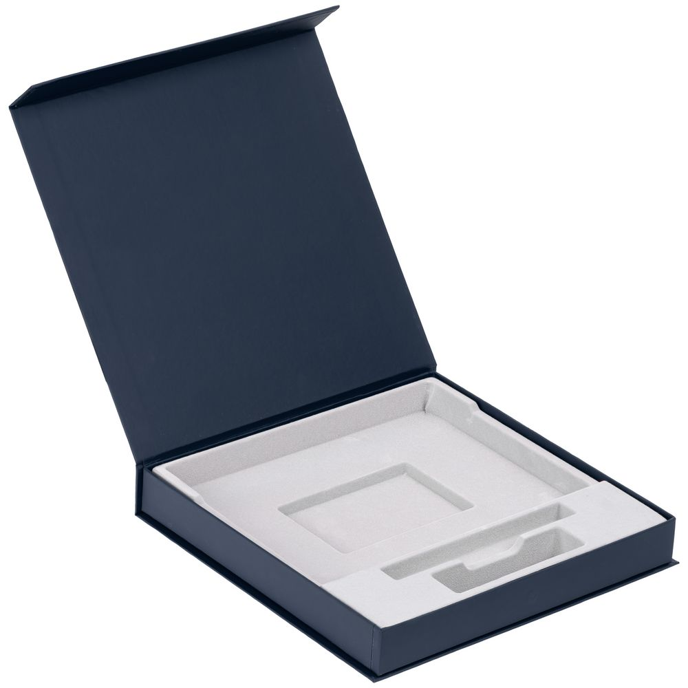 Коробка Memoria под ежедневник, аккумулятор и ручку, синяя