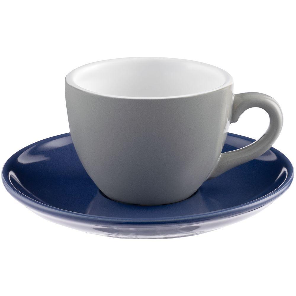 Чайная пара Cozy Morning, серая с синим