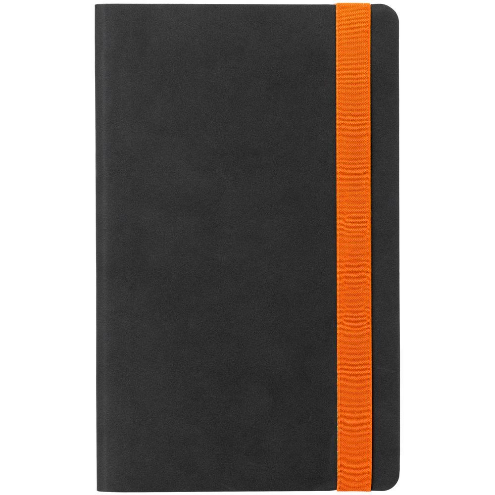 Ежедневник Velours, недатированный, черный с оранжевым