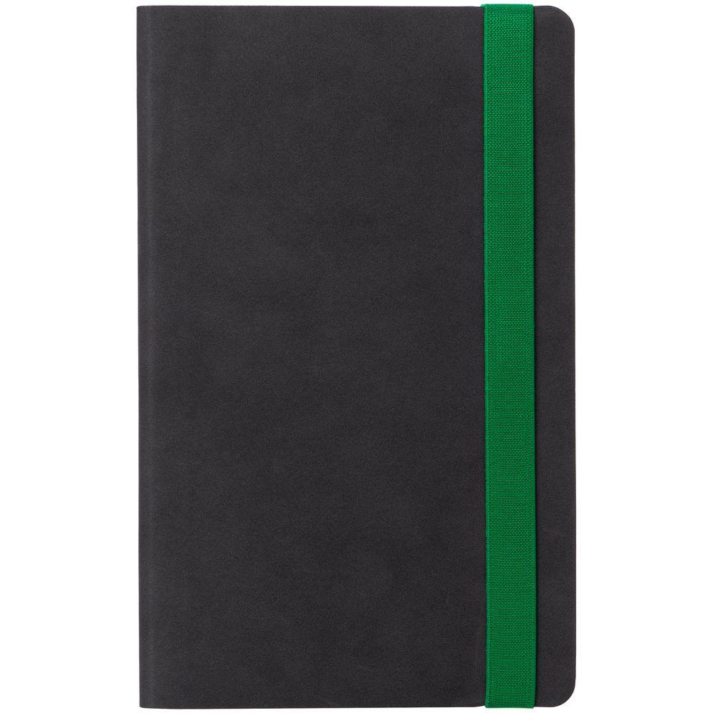 Ежедневник Velours, недатированный, черный с зеленым