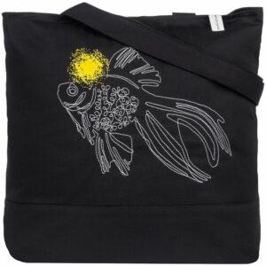 Сумка для покупок на молнии «Золотая рыбка», черная