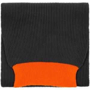 Шарф Snappy, темно-серый с оранжевым
