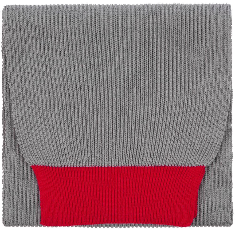 Шарф Snappy, светло-серый с красным
