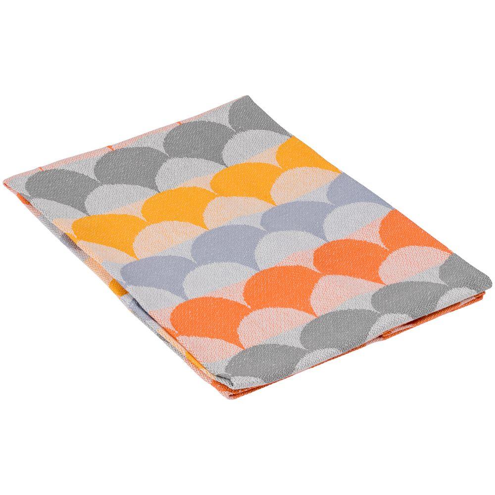 Полотенце кухонное Lamella, серое с оранжевым