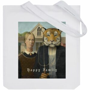 Холщовая сумка Happy Family, белая