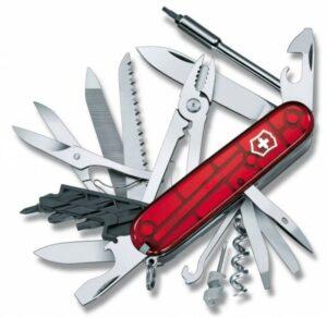 Офицерский нож CyberTool L, полупрозрачный красный